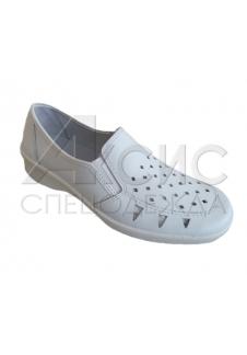 Туфли женские белые с крупной перфорацией
