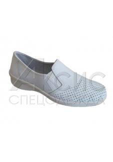 Туфли женские белые с мелкой перфорацией