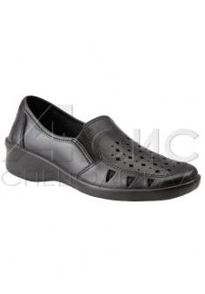 Туфли женские черные с крупной перфорацией