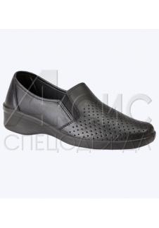 Туфли женские черные с мелкой перфорацией